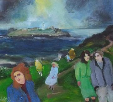 Gill Watkiss Original Mixed Media Painting Godrevy Lighthouse Cornwall